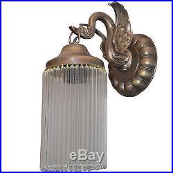 Wandlampe Antik Wandleuchte Messing Lampe Art Deco Glamour Gold Glasstäbe Schwan
