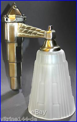 Wandlampe Art Deco DESIGNLEUCHTE Messing vernickelt silberfarben+Glas satiniert