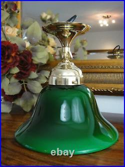 Wandlampe Jugendstil Deckenlampe Messing Antik Bankerlampe Glas Art déco Grün