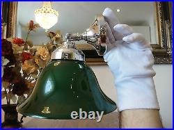 Wandlampe Jugendstil Deckenlampe Silber Antik Bankerlampe Glas Art déco Grün NEU