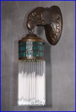 Wandleuchter Wandlampe Messing Art Deco Glas Jugendstil Lampe Glamour Antik
