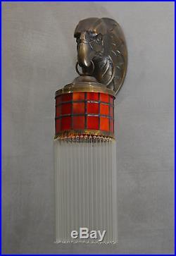 Wandleuchter Wandlampe Messing Art Deco Glas Jugendstil Lampe Glamour Antik Adle