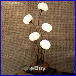 White Paper Ball Art Deco Shade Lantern Asian Table Floor Brown Touch Lamp Light