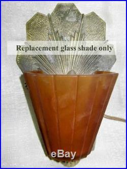 Williamson Beardslee Art Deco Slip Shade lamp globe replacement amber glass