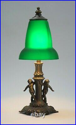 Winzige Jugendstil Putto Tischleuchte Fensterbank Art Deco Lampe zierlich Unikat