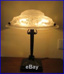 Wonderful French Art Deco Table Lamp 1925 Signed Degué (david Gueron)
