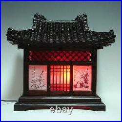Wood Art Shade Korean House Decorative Lantern Bedside Bedroom Table Lamp Light