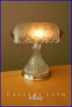 Wow! Rare Deco Bankers Crystal Art Glass Brass Desk Lamp! Vtg After Lalique 50's