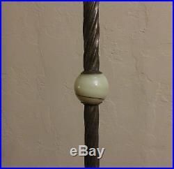 XLNT Working Antique Art Deco Nouveau Nymph Akro Agate Bridge Arm Floor Lamp
