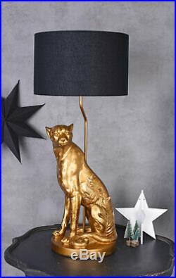 XL Tischlampe Leopard Gold Schwarz Panther Art Deco Bodenlampe Tischleuchte 77cm