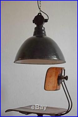 XXL Emaillelampe Groß Fabriklampe Vintage Alt Bauhaus Art Deco Antik Schwarz