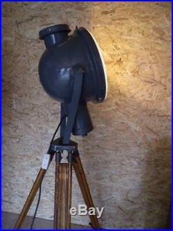 XXXL Bolicht Stativ Strahler Art Deco Emaille Lampe Industrie Tripod Fabriklampe